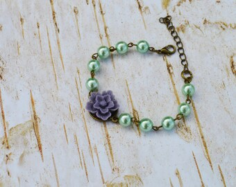 SALE - Lavender Sakura Pearls Bracelet, Vintage Flower Pearls Adjustable Bracelet, Wedding Bridal Bridesmaid Bracelet
