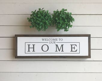 "Welcome to our Home | handmade wood sign | 22"" x 7"" 