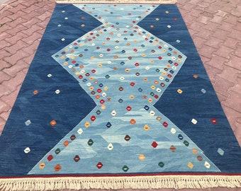 Vintage Rug, Blue Rug, Kilim Rug, Oushak Blue Rug, Oushak Runner, Kilim Runner, Turkish Rug, Blue Kilim Rug, Oushak Area Rug, 5'4''x7'11 ft