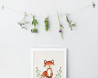 Forest animal art prints - Nursery fox print - Boys nursery decor - Laurel art prints - Watercolor wall art - Printable wall art