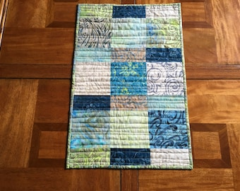 Small Batik Table Runner, Blue and Green Quilted Table Runner, Modern Table Topper, Quiltsy Handmade