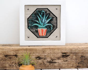 Mini Succulent AloeVera Framed Fabric Picture
