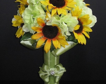 Sunflower Wedding Bouquet with Green Hydrangea, Fall Woodland Wedding Flowers, Made to order