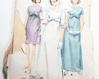 "1960s Empire waist Wedding Dress bridal gown bridesmaid sewing pattern Butterick 4377 Size 14 Bust 34"""