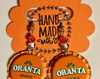 Earrings Oranta Orange Soda Bottle Earrings Bottlecap Jewelry