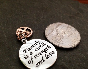 1 - Family is a Circle of Strength and Love Word Pendant, Sentimental Pendant, Stamped Pendant, Family Pendant - FAST SHIPPING