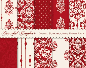 Digital Paper DAMASK Scrapbook Pack 10 Papers 8.5 x 11 Sheets Scrapbooking Burgundy RED White 1865gg