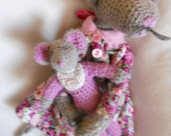 Doudou MOM mouse long legs and her baby crochet