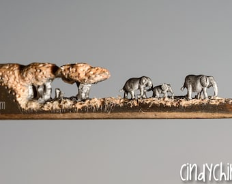 Made to Order: Pencil Carving - Elephant Walk- Incredible Detail  Micro Pencil Lead Carving