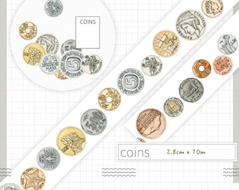 1 Roll of Limited Edition Washi Tape: Coins