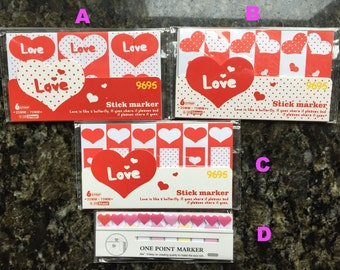 Love memo,Heart memo,memo sticker,sticky notes,post-its,stationery,memo pad