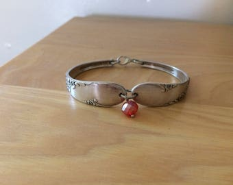 Vintage silverplated spoon bracelet with flowers