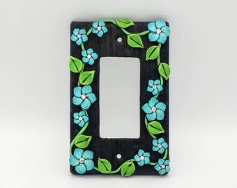 Blue Flower Vine Switchplate; Single Light Switch Cover; Decora Rocker Switch; Polymer Clay Switch Plate; Style #:BLF05
