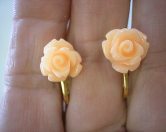 """Play Earring - Clip or Pierced - Rosebud - Light Orange - 3/8"""""""