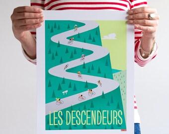 Cycling Print, Tour de France Art, DESCENDERS
