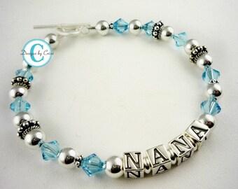 Nana Aquamarine crystal personalized bracelet - grandma, any names