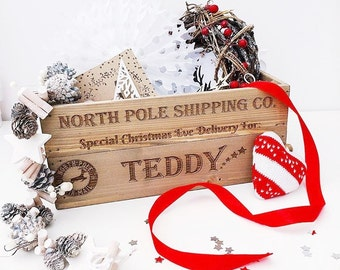 Personalised Christmas Eve Box Engraved Christmas Box Wooden Crate Small Apple Crate 2 designs available