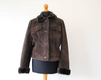 Brown Suede Coat 70s Shearling Brown Coat,  Brown Suede Fur Penny Lane Coat / Brown suede Jacket  Size Medium to Large