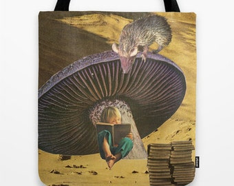 Tote Bag, book bag for the reader and dreamer - surreal collage art - early on she'd learned the art of escape-
