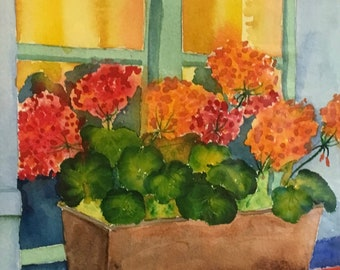 Kitchen Wall Decor Red Geraniums Flower Decor Gift for Her Original Watercolor Artist Painting Guest Room Decor Floral Painting