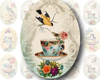 Tea Time 18x25mm Ovals for Pendants, Digital Collage Sheet, Download and Print Jpeg Images