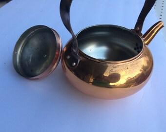 Vintage Copper Kettle Wood Handle Teapot