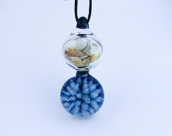 Blue Ocean Shell Pendant Necklace, Hand Blown glass Anemone Reef Jewelry,  Scuba diving, Heady Glass, Third Anniversary Gift, Lampwork