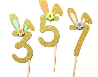 1 pc CHOOSE AGE NUMBER Flowers Bunny Ear Gold Glitter Cake Topper for Birthday Baby Toddler Girl Spring Summer