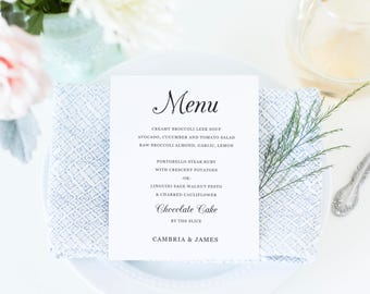 Printable Wedding Menu Template, Printable Menu, Script Wedding Menu, Calligraphy Menu, Southern Moonlight | SUITE029