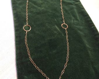 Necklace of sterling silver chain and hammered fine silver circles