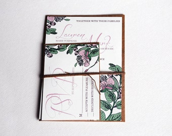 The Samantha Collection - Vintage Floral Classic Wedding Invitation Set in Cream, Green, Mauve and Pink  - Purchase for a sample
