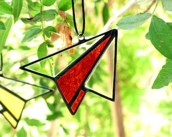 Geometric Paper Airplane - Hanging Stained Glass Paper Plane Suncatcher Paper Plane