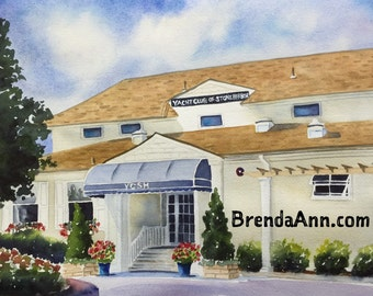 Stone Harbor Yacht Club of Stone Harbor in Stone Harbor, NJ - Hand Signed Archival Watercolor Print Wall Art by Brenda Ann