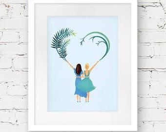 personalised engagement gift, custom couple illustration, wedding gift couple portrait, engagement art print, best friends gift, wedding art