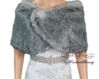Faux Fur Wrap, Faux Fur stole, Grey Chinchilla Wrap, Fur Shawl, Fur Shrug, Bridal Cape, Bridal Stole, Faux Fox Wrap, FW108-GREYCHIN