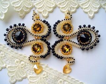 """Beaded earrings, long earrings, Swarowski earrings, """"The palace secrets"""""""