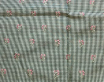 Doblin Fabric Esther Green Pink Flowers