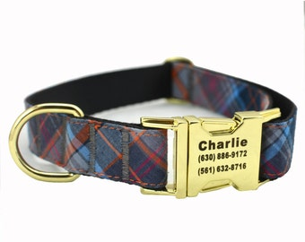 Dog Collar with Personalized Buckle, Red Check,Fabric 06,Gold Buckle