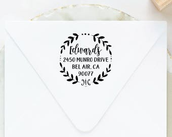 Wreath Address Stamp, Family Return Address Stamp, Self Inking Return Address Stamp, Self Ink Stamp, Custom Address Stamp, Personalized
