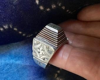 Tuareg Tribal Silver Large Ring with Ebony Inlay, US Size 10 1/2