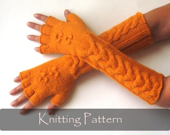 KNITTING PATTERN - Knit Mittens Pattern Cable Fingerless Gloves Pattern Hand Warmers Pattern Knit Arm Warmers Cable Gloves PDF - P0010