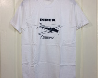 deadstock 1980s Piper Comanche small airplane t-shirt size medium 17.5x27 pilot aircraft thin white Stedman made in USA NOS