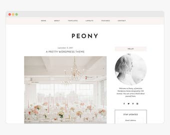 "NEW Wordpress Theme - Wordpress Fashion Theme - Genesis Theme - Stylish Blogger Theme - ""Peony"" Instant Digital Download"