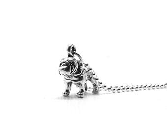 Bulldog Necklace, Bulldog Jewelry, Bulldog Pendant, Charm Necklace, Bulldog Charm, Sterling Silver Jewelry, Sterling Silver Bulldog Necklace