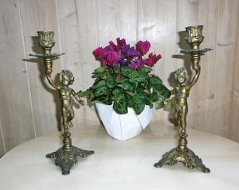 Antique French bronze brass Cherub candle holder pair / / cherubs Candlestick