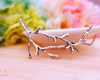 Silver Twig Necklace, Silver Branch Necklace, Silver Tree Necklace, Silver Boho Necklace, Bohemian Jewelry, Summer Necklace, Earthy Jewelry