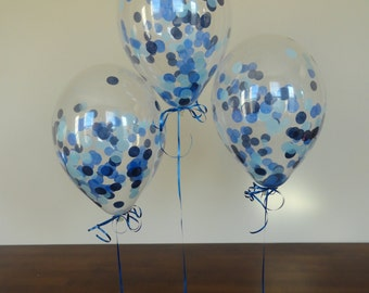 "8 or 16 Count: 11"" Confetti Balloons with Blue Ombre Confetti- Shower, Birthday, Baby, 1st, Boy, Water, Wedding, Winter, Holidays"