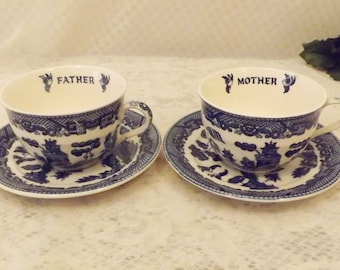 Vintage Blue Willow Father Mother Anniversary Coffee Cup Set