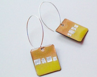 Square, glass enamel, chartreuse, bitter green, lime yellow square earrings with fine silver foil