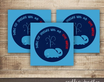 Whale Favor Tags / Personalized Favor Tags / Personalized Whale Birthday Party Labels / Splash Park Pool Party Favor Labels  - Printable